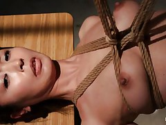 Have a look at this sexy cunt, she`s all tied up and hangs there quietly until she gets roughly mouth fucked with a dildo. The intensity and brutality of the fucking makes our slut horny! She`s not only fucked, the executor slaps her and strangulates her too. After all that he leaves the bitch hanging in the dark