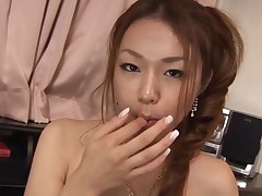Breasty Oriental gal with curly muff feels dick and snatch in hole
