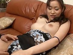Stud fingers wicked Oriental chick in nylons zealously